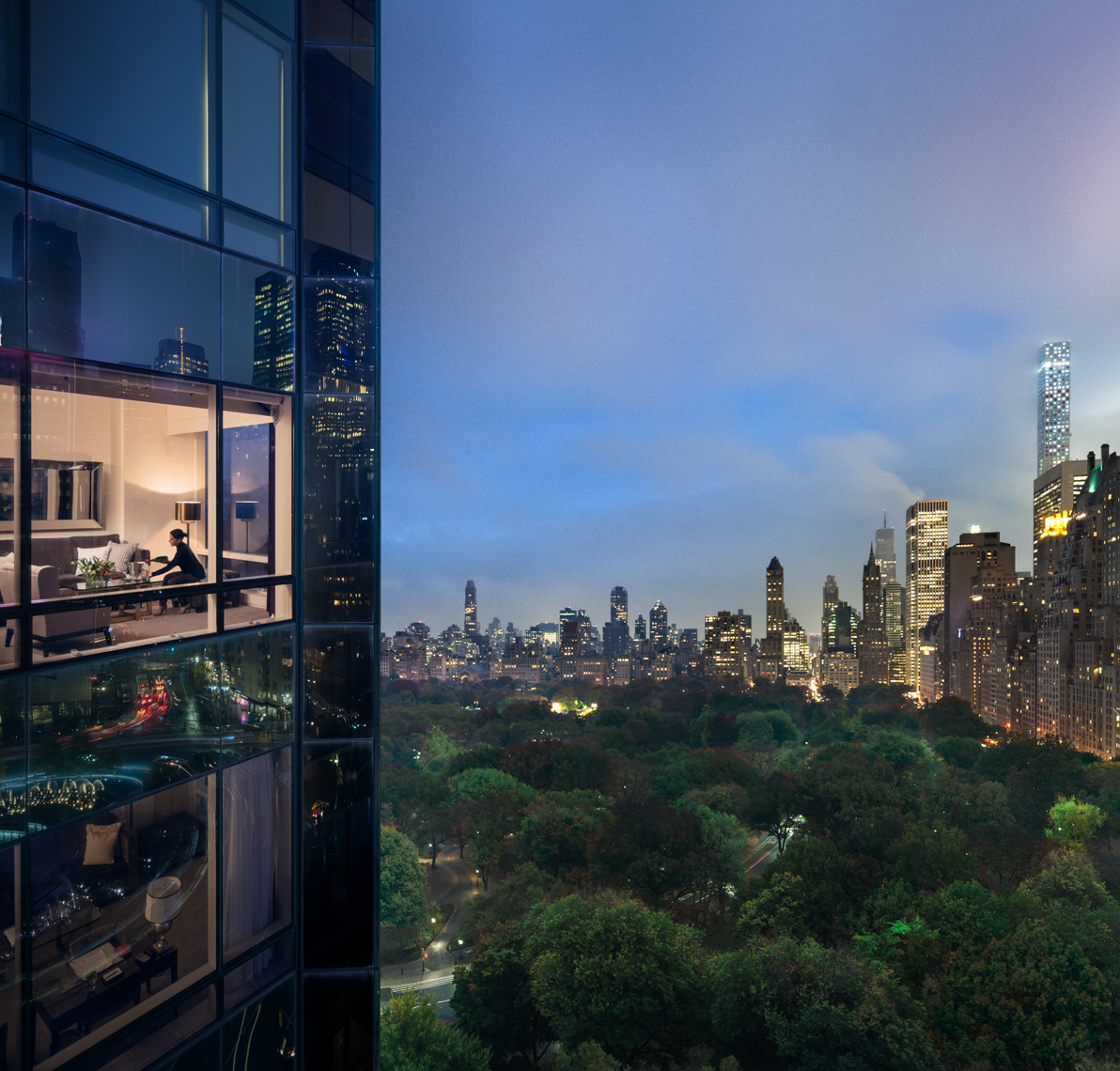 Central Park, Dusk Views, NYC Skyline, Luxury Hotel